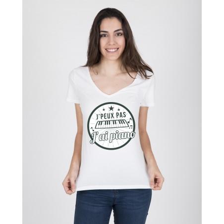 Tee-Shirt Col V Femme J'ai Piano