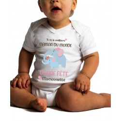 Body Bébé Bonne Fête Maman Elephant